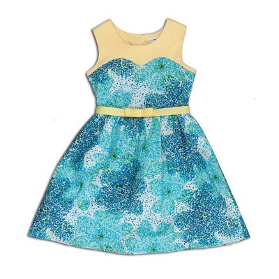 Lena Splash Cotton Splash Print Dress with Knit Yoke