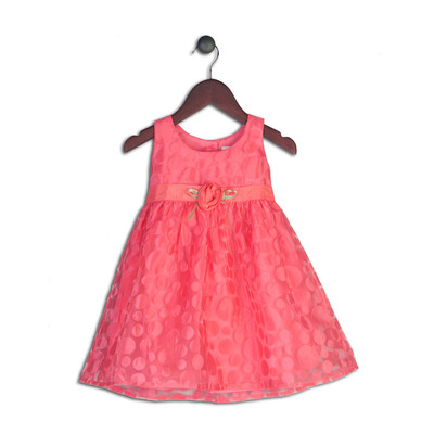 Mandy Coral Organza Polka Dot Dress