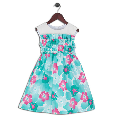 Mattia Floral Cotton Printed Dress with Pleated Bodice