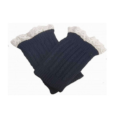 Knitted Boot Cuffs with Elegant Lace Trim - Dark Grey Color