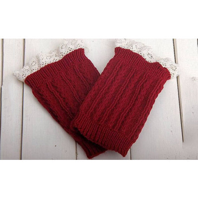 Knitted Boot Cuffs with Elegant Lace Trim - Red Color