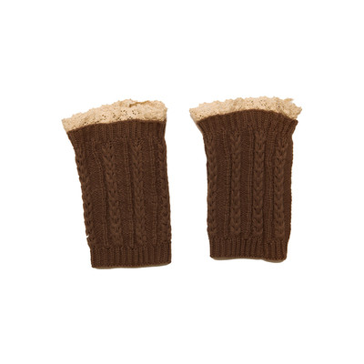 Knitted Boot Cuffs with Elegant Lace Trim - Brown Color