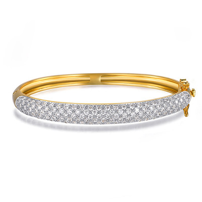18K Gold Plated Two Tone Swiss Cubic Zirconia Bracelet