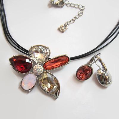 Swarovski ashling pendant dark redpinkwhite flower with earrings aloadofball Gallery