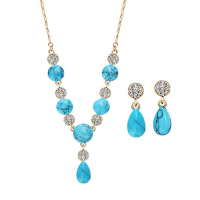 14K Gold Plated Turquoise Blue Jewellery Set