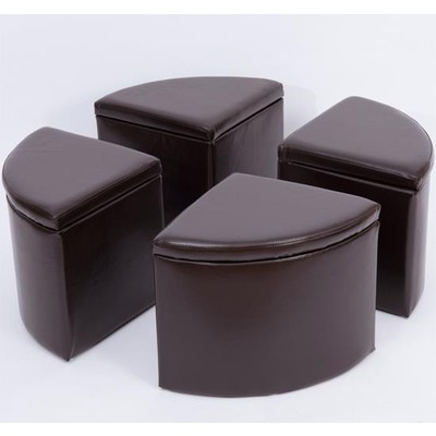PU leather Storage Ottoman Stool Circular 4 Sections Brown