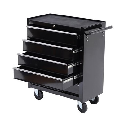 Large Rolling 5 Drawer Lock Storage Tool Box Cart Cabinet With Wheels Black