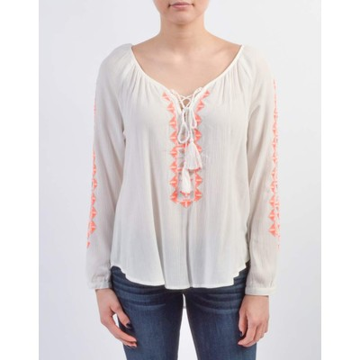 Lush PEASANT BLOUSE WITH EMBROIDERY