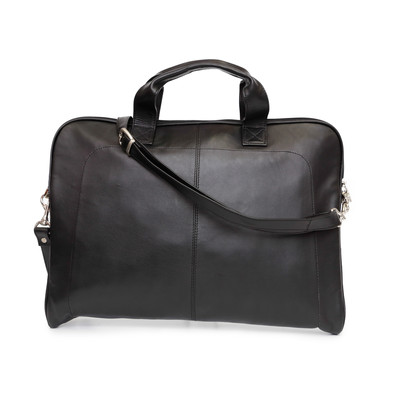Genuine Leather Slim Laptop Case, Black