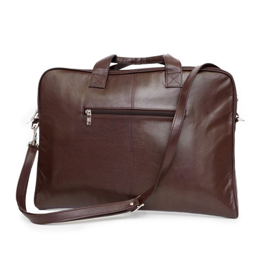 Genuine Leather Slim Laptop Case, Dark Brown