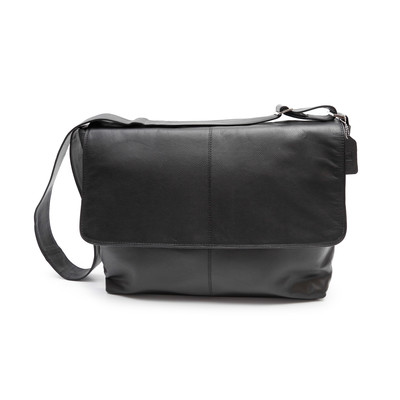 Genuine Leather Messenger Bag, Black