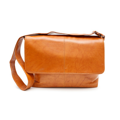 Genuine Leather Messenger Bag, Tan