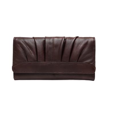 """Genuine Leather Ladies 7"""" Clutch Wallet, Dark Brown"""