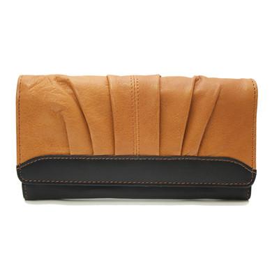 "Genuine Leather Ladies 7"" Clutch Wallet, Colourblocking"