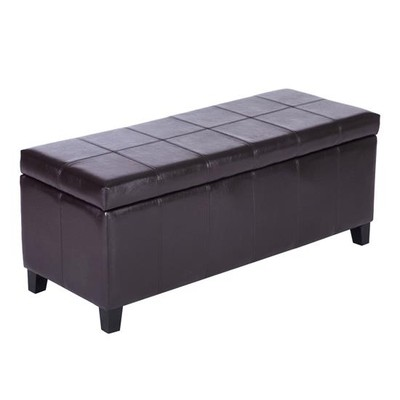 Leather Padded Storage Bench Ottoman Brown