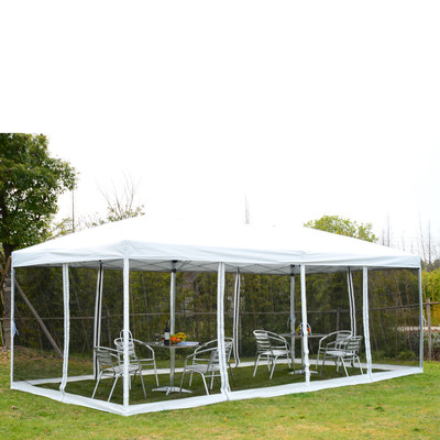 10' x 20' Outdoor Pop Up Party Tent Canopy Gazebo Mesh Side Walls White