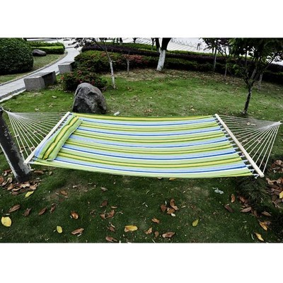 "83"" Large 2 People Fabric Hammock w/ Pillow Green / Blue"