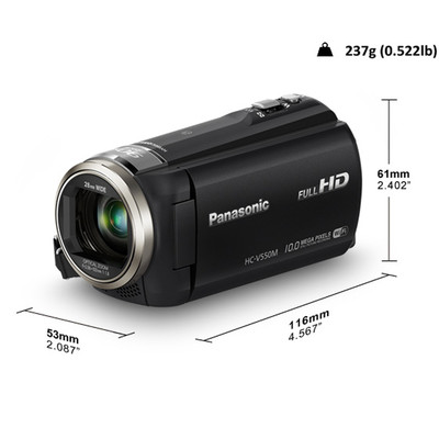 Panasonic-Refurbished Lumix HC-V550 Black High Definition Video Camera - Manufacturer Recertified with 90 days Warranty