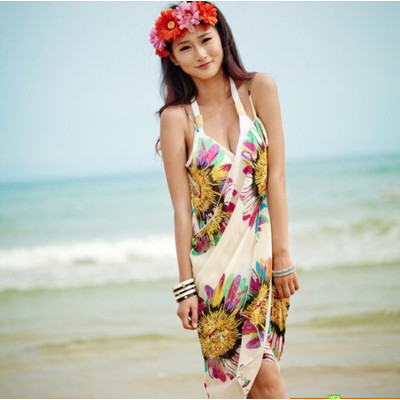 Summer Chiffon Bikini Dress - White Color