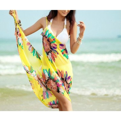 Summer Chiffon Bikini Dress - Yellow Color