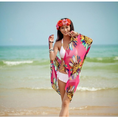 Summer Chiffon Bikini Dress - Pink Color