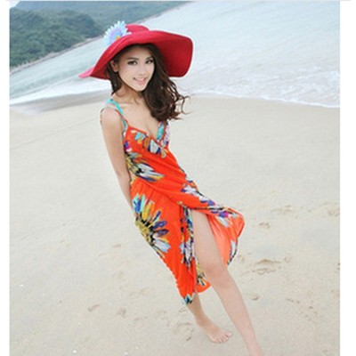 Summer Chiffon Bikini Dress - Orange Color