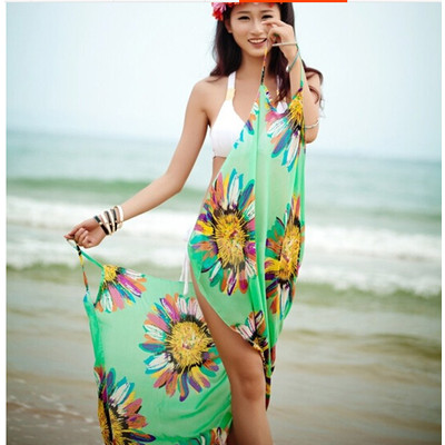 Summer Chiffon Bikini Dress - Green Color
