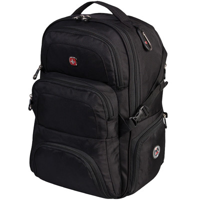 "SWISS GEAR BACKPACK SIDE LOAD COMPUTER COMPARTMENT FITS 17"" LAPTOP AND SLEEVED TABLETS. COLOUR - BLACK"
