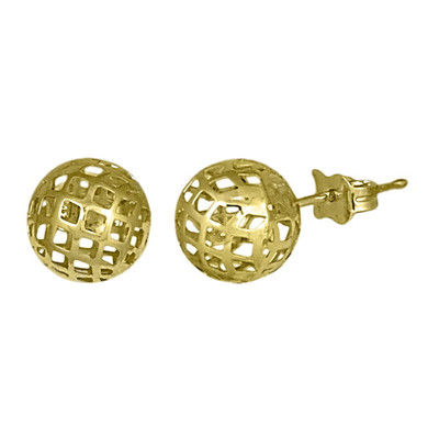9mm Golden Sphere Mesh Stud Earrings