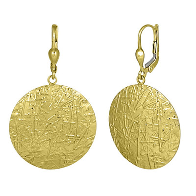 Golden Matted Round Earrings