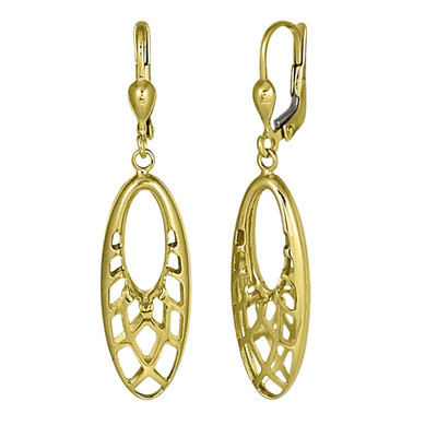 Golden Oval Basket Mesh Earrings