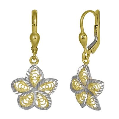 Two Toned Flower-Star Earrings