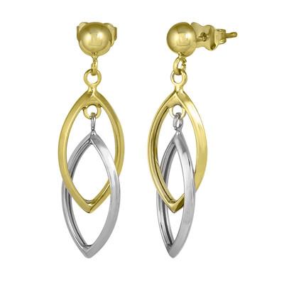 Two Tone Dangling Double Marquee Earrings
