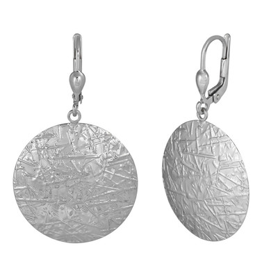 White Gold Matted Round Earrings