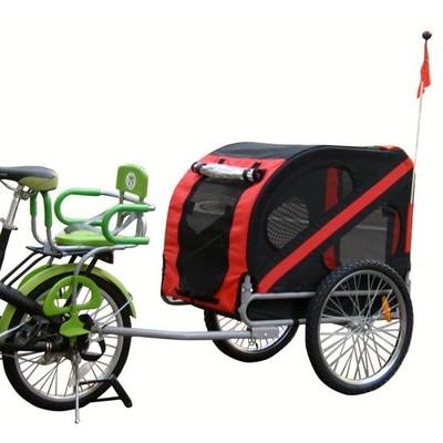 Folding Bicycle Pet Dog Trailer Red/Black