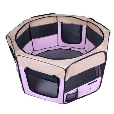 """49.2"""" Large Portable Dog Pet Playpen Pink"""