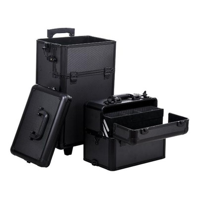 2 in 1 Professional Rolling Makeup Case Black
