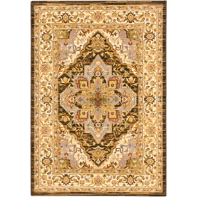 "eCarpetGallery Power Loomed Persia Serapi Cream, Dark Brown Rug - 3'11"" x 5'3"""