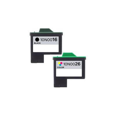 Premium LEXMARK-Compatible 10N0016 / 10N0026 #16 / #26 INK/ INKJET Combo Black Tri Color