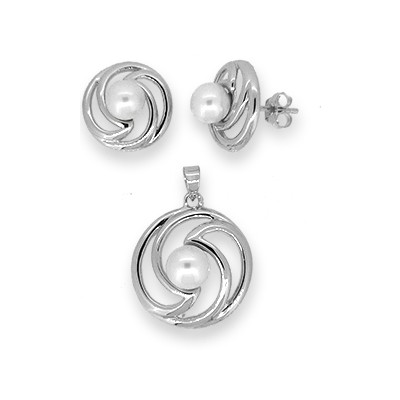 Silver and Freshwater Pearl Earring and Pendant Set