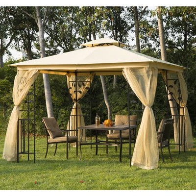 10' x 10' Metal Frame Gazebo Canopy Shelter Beige