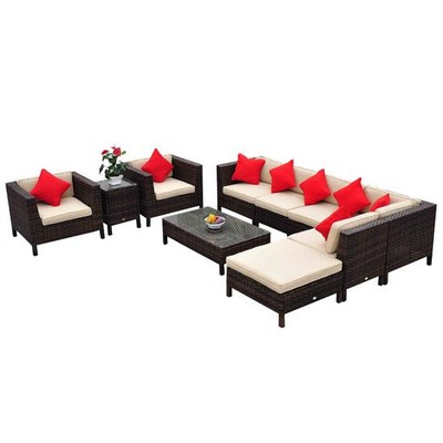 9pc Outdoor Rattan Sofa Sectional Patio Furniture Set