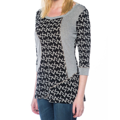 Ladies 3/4 Sleeve Top with Comfort Stretch - Off White
