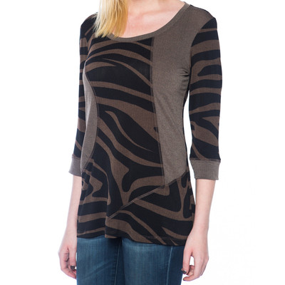 Ladies 3/4 Sleeve Top with Comfort Stretch - Tan