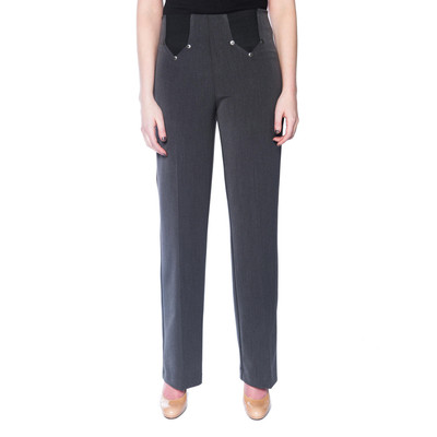 Slimming Pull-On Dress Pant with Comfort Waist & Fabric - Charcoal Mix