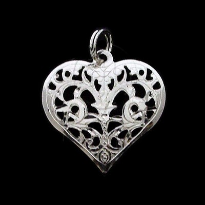 Sterling Silver DiamondCut Heart Charms - Various Styles