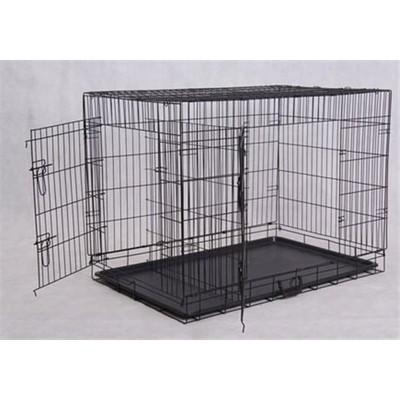 "42"" 2-Door Folding Dog Crate w/ Divider"