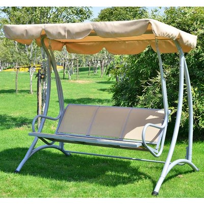Metal 3-Seat Swing Chair with Canopy