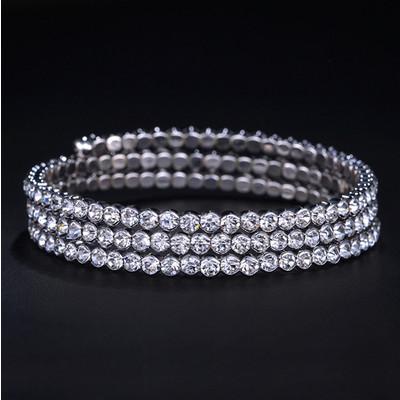 18K White Gold Plated Spiral Austrian Crystals Bracelet