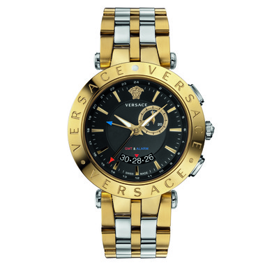 Versace Men's 29G79D009 S079 'V-Race' GMT Alarm Analog Display Quartz Gold Watch